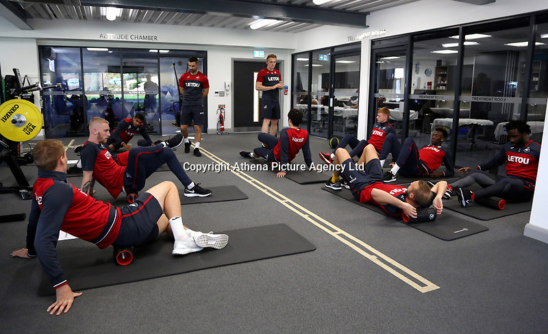 Players work out in the gym during the Swansea City Training at The Fairwood Training Ground, Swansea, Wales, UK. Wednesday 01 November 2017