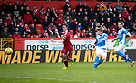 Aberdeen v St Johnstone…29.04.17     SPFL    Pittodrie<br />Craig Thomson scores saints second goal<br />Picture by Graeme Hart.<br />Copyright Perthshire Picture Agency<br />Tel: 01738 623350  Mobile: 07990 594431