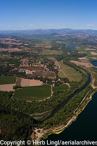 Aerial photograph Rochioli Vineyards Russian River at Healdsburg Sonoma Coast Pinot Noir vineyards
