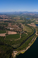 Aerial photograph Rochioli Vineyards Russian River at Healdsburg Sonoma Coast Pinot Noir vineyards