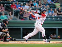 Outfielder Aneury Tavarez (5) of the Greenville Drive in a game against the West Virginia Power on Tuesday, April 16, 2013, at Fluor Field at the West End in Greenville, South Carolina. West Virginia won, 8-3. (Tom Priddy/Four Seam Images)