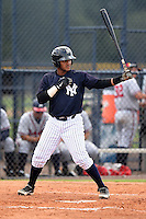 GCL Yankees 1 catcher Brian Reyes (89) at bat during the second game of a doubleheader against the GCL Braves on July 1, 2014 at the Yankees Minor League Complex in Tampa, Florida.  GCL Braves defeated the GCL Yankees 1 by a score of 3-1.  (Mike Janes/Four Seam Images)