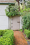 """Back door to studio, with brick walk and lush gardens.  """"Portland's Secret Garden"""",  Leach Garden was established by JOhn and Lilla Leach in the 1930's.  The Garden continues as a public place of respite and native northewest botanical display.  Operated by the city of Portland, Oregon.."""