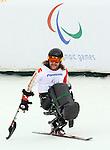 Caleb Brousseau, Sochi 2014 - Para Alpine Skiing // Para-ski alpin.<br /> Caleb Brousseau competes in the men's sitting downhill event // Caleb Brousseau participe à l'épreuve masculine de descente assise. 08/03/2014.