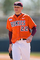 Starting pitcher Jesse Hahn #22 of the Virginia Tech Hokies smiles as he walks off the field at English Field March 27, 2010, in Blacksburg, Virginia.  Photo by Brian Westerholt / Four Seam Images