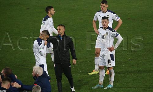 12th November 2020; Belgrade, Serbia; European International Football Playfoff Final, Serbia versus Scotland;  Serbian players after losing the match Darko Lazovic, Nikola Milenkovic, Luka Jovic