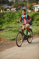 Battambang - Cambodia - June 2020<br /> Kid of bicycle near<br /> Ruins of WAT EK PHNOM in early morning