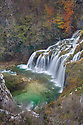 A series of waterfalls known as 'Sastavci' that cascade between mountain lakes, Plitvice Lakes National Park, Croatia. November.