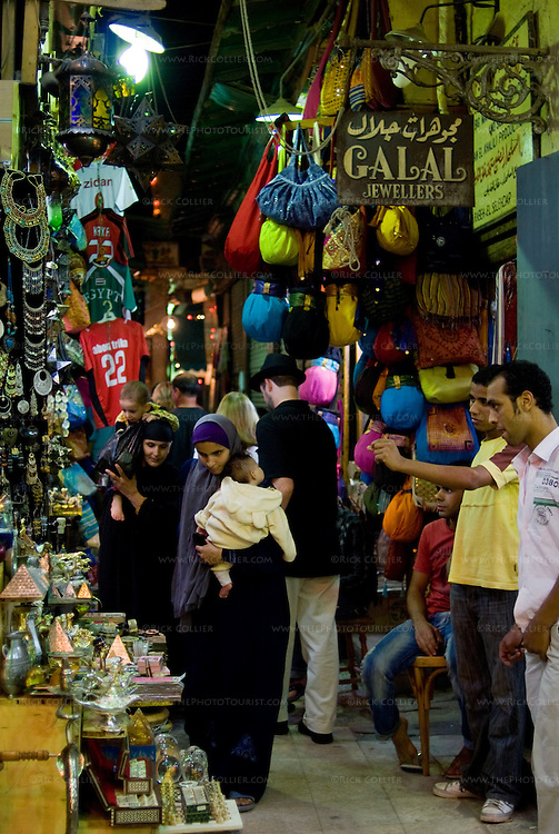 Khan el-Khalili bazaar, Cairo, Egypt -- The famous Khan el-Khalili bazaar, spread like a warren over several blocks in downtown Cairo, is lit, crowded, and eagerly serving locals and tourists alike until late at night, nearly every night. © Rick Collier / RickCollier.com.