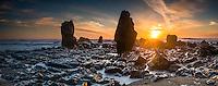 Sunset on rugged coastline near Greymouth, Buller Region, West Coast, New Zealand, NZ