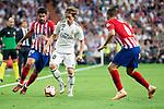 Real Madrid Luka Modric and Atletico de Madrid Diego Costa and Koke Resurreccion during La Liga match between Real Madrid and Atletico de Madrid at Santiago Bernabeu Stadium in Madrid, Spain. September 29, 2018. (ALTERPHOTOS/Borja B.Hojas)