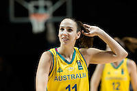 Melbourne, 15 August 2015 - Laura HODGES of Australia after her team's win in game one of the 2015 FIBA Oceania Championships in women's basketball between the Australian Opals and the New Zealand Tall Ferns at Rod Laver Arena in Melbourne, Australia. Aus def NZ 61-41. (Photo Sydney Low / sydlow.com)