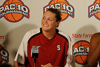 LOS ANGELES, CA - MARCH 13:  Jayne Appel during Stanford's 64-44 win over California in the Pac-10 Tournament at the Staples Center on March 13, 2010 in Los Angeles, California.