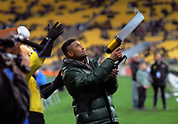 Former Hurricanes and All Black Julian Savea fires t-shirts into the crowd during the Super Rugby Aotearoa match between the Hurricanes and Chiefs at Sky Stadium in Wellington, New Zealand on Saturday, 8 August 2020. Photo: Dave Lintott / lintottphoto.co.nz