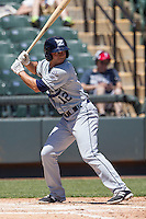 New Orleans Zephyrs third baseman Josh Rodriguez #12 at bat during the Pacific Coast League baseball game against the Round Rock Express on May 5, 2014 at the Dell Diamond in Round Rock, Texas. The Zephyrs defeated the Express 13-4. (Andrew Woolley/Four Seam Images)