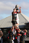 Dragons lock Andrew Coombs beats Ulster lock Franco Van Der Merwe to the lineout ball.<br /> Guinness Pro12<br /> Gwent Dragons v Ulster<br /> 08.03.15<br /> ©Steve Pope - SPORTINGWALES