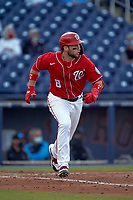 Washington Nationals Carter Kieboom (8) runs to first base during a Major League Spring Training game against the Miami Marlins on March 20, 2021 at FITTEAM Ballpark of the Palm Beaches in Palm Beach, Florida.  (Mike Janes/Four Seam Images)