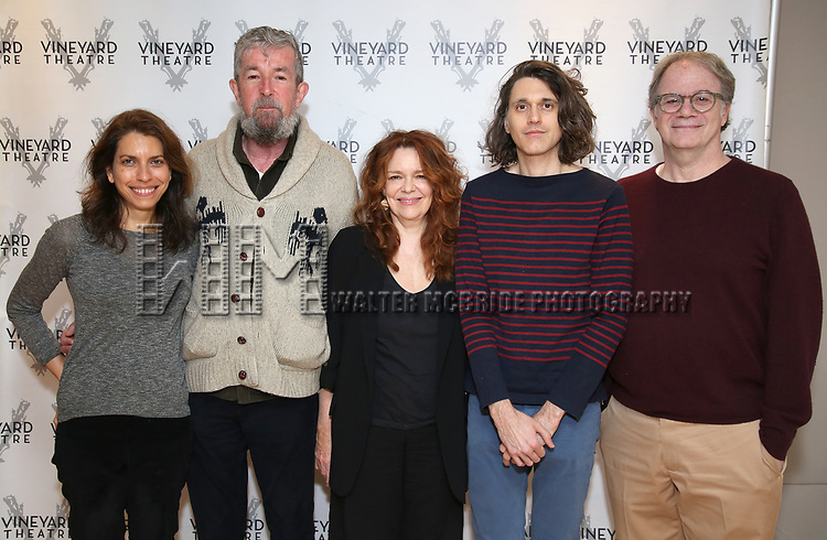 """Artistic director Sarah Stern, director Les Waters, actress Deirdre O'Connell, playwright Lucas Hnath and artictic director Douglas Aibel during the cast photo call for the Vineyard Theatre Production of Dana H."""" at the Vineyard Theatre Rehearsal Studios on February 4, 2020 in New York City."""