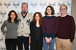 "Artistic director Sarah Stern, director Les Waters, actress Deirdre O'Connell, playwright Lucas Hnath and artictic director Douglas Aibel during the cast photo call for the Vineyard Theatre Production of Dana H."" at the Vineyard Theatre Rehearsal Studios on February 4, 2020 in New York City."