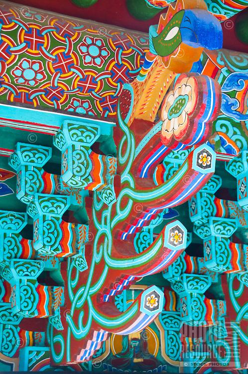 Close-up of an exterior detail at Mu-Ryang-Sa (or Broken Ridge Temple), a Korean Buddhist temple in Palolo Valley, Honolulu, O'ahu.