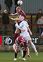 Stenny's Stewart Greacen gets above East Fife's Kevin Smith and team mate Nicky Devlin. <br /> <br /> <br /> 15/02/2014   jspa019_smuir_v_efife     <br /> Copyright  Pic : James Stewart   <br /> <br /> James Stewart Photography 19 Carronlea Drive, Falkirk. FK2 8DN      Vat Reg No. 607 6932 25   Tel:  +44 (0)7721 416997<br /> E-mail  :  jim@jspa.co.uk   If you require further information then contact Jim Stewart on any of the numbers above........