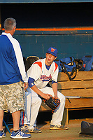 Whiteville High School Wolfpack pitcher MacKenzie Gore (1) in the dugout before a game against the South Columbus High School Stallions at Legion Stadium on March 28, 2017 in Whiteville, North Carolina. Whiteville defeated South Columbus 3-2. (Robert Gurganus/Four Seam Images)
