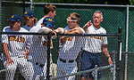 WATERBURY, CT 073121JS16 Dave Collins, a former Major League Baseball player and now on the coaching staff for the Midland (OH) Dodgers, talks with some of his players during their Mickey Mantle World Series baseball game against South Troy Saturday at Municipal Stadium in Waterbury. <br /> Jim Shannon Republican American