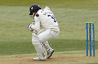 Adam Wheater of Essex is hit by the ball during Essex CCC vs Durham CCC, LV Insurance County Championship Group 1 Cricket at The Cloudfm County Ground on 15th April 2021