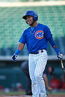 AZL Cubs 1 Oswaldo Pina (60) at bat during an Arizona League game against the AZL Angels on June 24, 2019 at Sloan Park in Mesa, Arizona. AZL Cubs 1 defeated the AZL Angels 12-0. (Zachary Lucy / Four Seam Images)