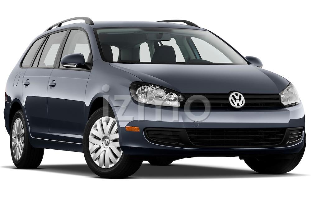Low aggressive passenger side front three quarter view of a 2010 Volkswagen Jetta SportWagen S.
