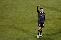 COLUMBUS, OH - DECEMBER 12: Milton Valenzuela #19 of Columbus Crew celebrates after defeating Seattle Sounders FC during a game between Seattle Sounders FC and Columbus Crew at MAPFRE Stadium on December 12, 2020 in Columbus, Ohio.
