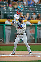 Daniel Robertson (2) of the Tacoma Rainiers at bat against the Salt Lake Bees in Pacific Coast League action at Smith's Ballpark on July 23, 2016 in Salt Lake City, Utah. The Rainiers defeated the Bees 4-1. (Stephen Smith/Four Seam Images)