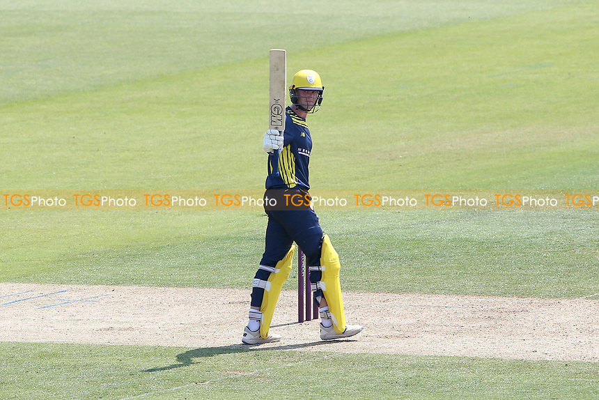 Nick Gubbins raises his bat to celebrate reaching his fifty for Hampshire during Hampshire Hawks vs Essex Eagles, Royal London One-Day Cup Cricket at The Ageas Bowl on 22nd July 2021
