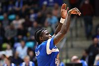 AJ English (Fraport Skyliners) mit neuen Dreadlocks - 12.03.2017: Fraport Skyliners vs. Basketball Löwen Braunschweig, Fraport Arena Frankfurt