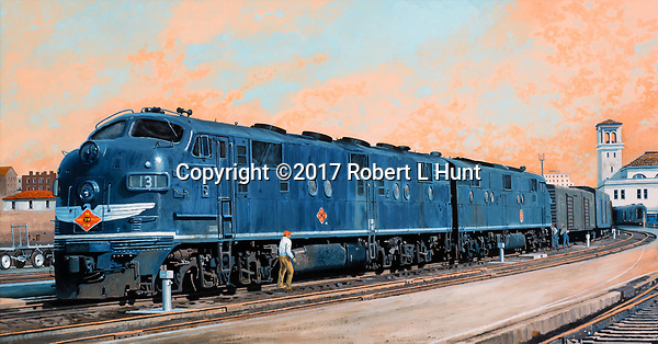 Texas and Pacific Railroad crew making saftey and maintenace checks on their locomotive and train before leaving station eastbound under a sunset sky. Oil on canvas 16x30.