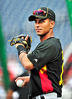 8 June 2010: Pittsburgh Pirates' infielder Ronny Cedeno warms up prior to a game against the prior to a game against the Washington Nationals at Nationals Park in Washington, DC. The Nationals defeated the Pirates 5-2 in the series opener where pitching sensation Stephen Strasburg made his Major League debut, striking out 14 batters and notching his first win in the majors. Mandatory Credit: Ed Wolfstein Photo