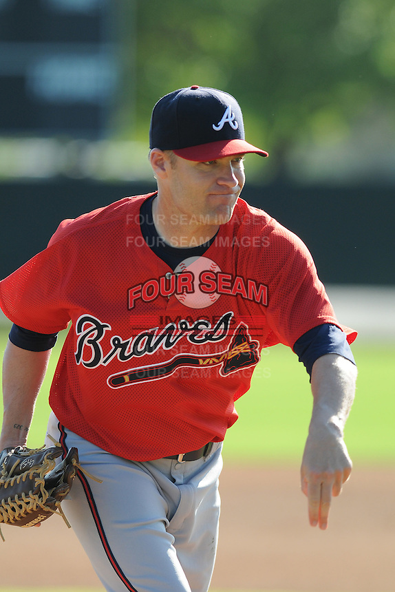Pitcher Greg Smith (79) of the Atlanta Braves farm system in a Minor League Spring Training workout on Tuesday, March 17, 2015, at the ESPN Wide World of Sports Complex in Lake Buena Vista, Florida. (Tom Priddy/Four Seam Images)