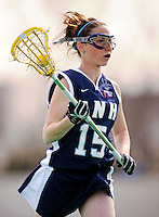 9 April 2008: University of New Hampshire Wildcats' Attackman Shaunna Kaplan, a Sophomore from Framingham, MA, in action against the University of Vermont Catamounts at Moulton Winder Field, in Burlington, Vermont. The Catamounts rallied to defeat the visiting Wildcats 9-8 in America East divisional play...Mandatory Photo Credit: Ed Wolfstein Photo