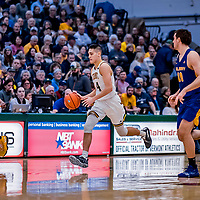 9 February 2019: University of Vermont Catamount Guard Robin Duncan, a Freshman from Evansville, IN, in first-half action against the University at Albany Great Danes at Patrick Gymnasium in Burlington, Vermont. The Catamounts defeated the Danes 67-49 in their America East matchup. Mandatory Credit: Ed Wolfstein Photo *** RAW (NEF) Image File Available ***