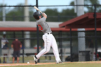 Austin Lambert (70) of Coalgate High School in Coalgate, Oklahoma during the Under Armour Baseball Factory National Showcase, Florida, presented by Baseball Factory on June 12, 2018 the Joe DiMaggio Sports Complex in Clearwater, Florida.  (Nathan Ray/Four Seam Images)