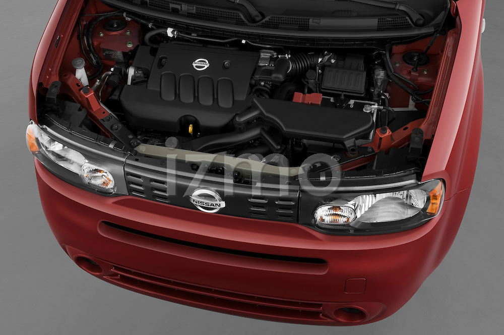 High angle engine detail of a 2009 Nissan Cube SL.