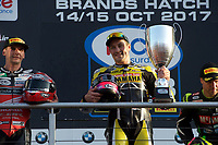 Josh Brookes of Anvil Hire Tag Racing with his trophy after winning the Final of the MCE British Superbikes in Association with Pirelli round 12 2017 - BRANDS HATCH (GP) at Brands Hatch, Longfield, England on 15 October 2017. Photo by Alan  Stanford / PRiME Media Images.