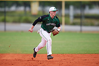 Dartmouth Big Green second baseman Sean Sullivan (4) charges a ground ball during a game against the Southern Maine Huskies on March 23, 2017 at Lake Myrtle Park in Auburndale, Florida.  Dartmouth defeated Southern Maine 9-1.  (Mike Janes/Four Seam Images)