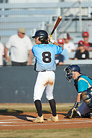 Carson Phunteck (8) (Langtree Charter HS) of the Dry Pond Blue Sox at bat against the Mooresville Spinners at Moor Park on July 2, 2020 in Mooresville, NC.  The Spinners defeated the Blue Sox 9-4. (Brian Westerholt/Four Seam Images)