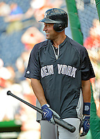 15 June 2012: New York Yankees shortstop Derek Jeter awaits his turn in the batting cage prior to a game against the Washington Nationals at Nationals Park in Washington, DC. The Yankees defeated the Nationals 7-2 in the first game of their 3-game series. Mandatory Credit: Ed Wolfstein Photo