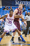 Arkansas Little Rock Trojans forward Gus Leeper (55) and Texas-Arlington Mavericks forward Brandon Edwards (35) in action during the game between the Arkansas Little Rock Trojans and the Texas Arlington Mavericks at the College Park Center arena in Arlington, Texas. UALR defeats UTA 72 to 70.