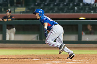 AZL Rangers third baseman Frainyer Chavez (60) starts down the first base line during an Arizona League game against the AZL Giants Black at Scottsdale Stadium on August 4, 2018 in Scottsdale, Arizona. The AZL Giants Black defeated the AZL Rangers by a score of 6-3 in the second game of a doubleheader. (Zachary Lucy/Four Seam Images)