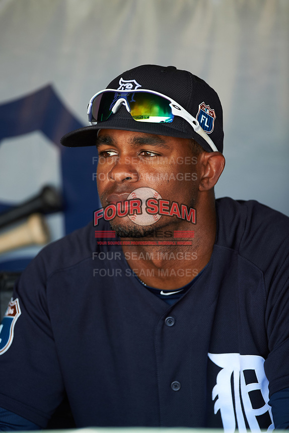 Detroit Tigers center fielder Wynton Bernard (63) in the dugout before an exhibition game against the Florida Southern Moccasins on February 29, 2016 at Joker Marchant Stadium in Lakeland, Florida.  Detroit defeated Florida Southern 7-2.  (Mike Janes/Four Seam Images)