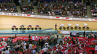 05 DEC 2014 - STRATFORD, LONDON, GBR - The Great Britain (GBR) women's team (right) catch the team from the USA during their women's Team Pursuit first round tie at the 2014 UCI Track Cycling World Cup  at the Lee Valley Velo Park in Stratford, London, Great Britain (PHOTO COPYRIGHT © 2014 NIGEL FARROW, ALL RIGHTS RESERVED)