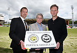 Partick Thistle launch new sponsor, Califonia based Kingsford Capital Management and new mascot Kingsley designed by artist David Shrigley. Pictured are Ian Maxwell, Partick Thistle MD, US investor Mike Wilkins from Kingsford and artist David Shrigley